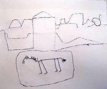 A raised-line drawing of an African village. In the background is a mountain range, many of the mountains have distinctive broad flat tops. A few of the village's buildings are along the street. A horse is standing in the street.
